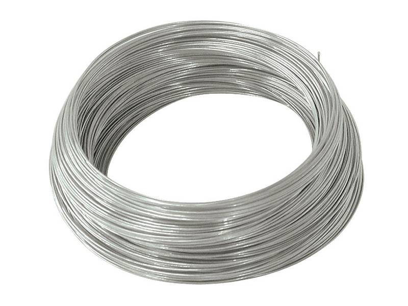 A roll of T316 stainless steel wire on white background.